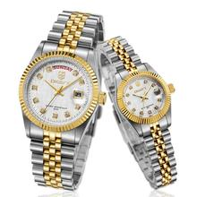 Classical style Watch OEM Gold color Sapphire Glass Automatic Movement Luxury <strong>Steel</strong> Band For Couple Watch
