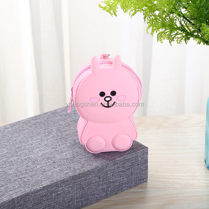 Food Grade Silicone Cartoon Printing Coin Purse Mini Coin Bag Coin wallet
