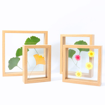 Creative A4 Diy Paper Cutting Wood Picture Frame Double Sided Glass Flower Table Photo Frame For Decoration