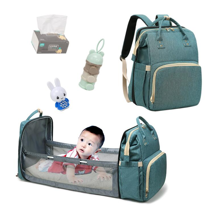 New Large capacity multi function nappy backpack lightweight mummy baby diaper backpack with bed function