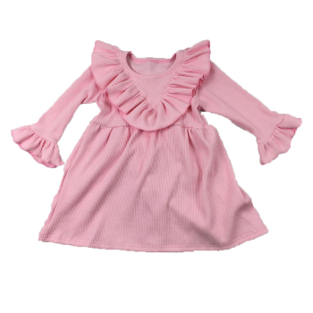 New Design Kids Solid Color Knitted Dress Toddler Frock Designs Baby Girls Winter Dresses 2020