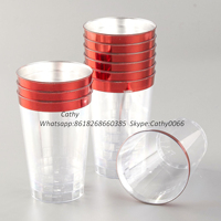 12oz red rimmed disposable plastic cups with red trim , plastic dessert cups for wedding,party