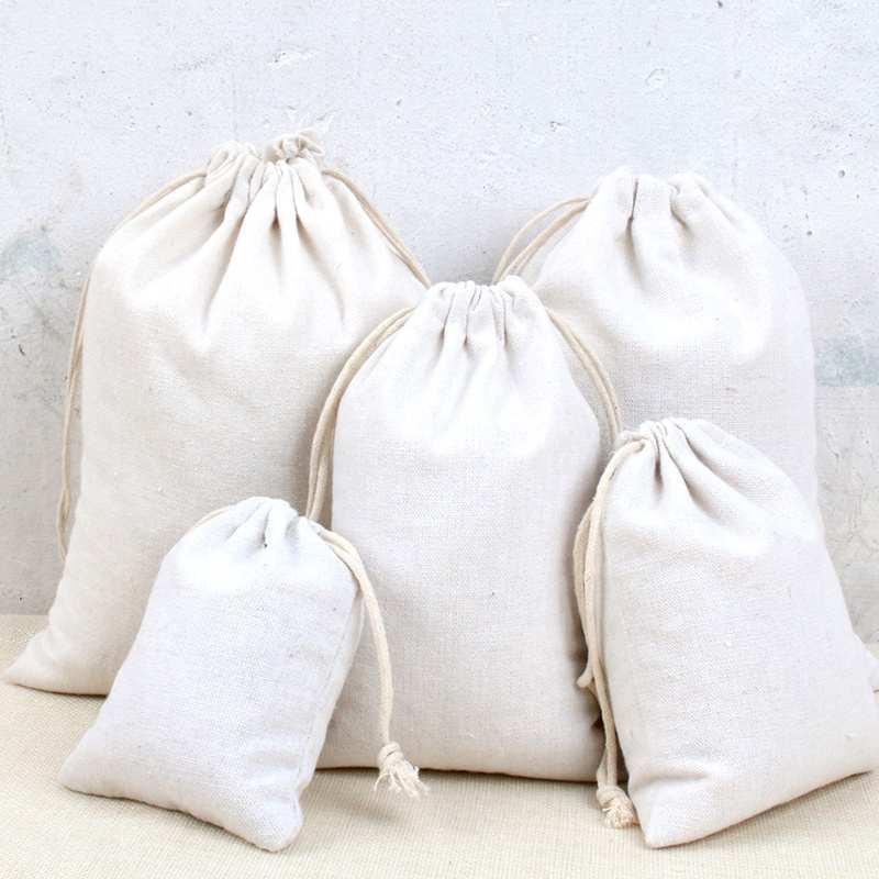 9 sizes on stock Muslin Bags pure cotton drawstring bag for rice flour packaging