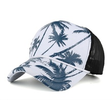 customize 100 polyester foam digital printing palm tree pattern printed mesh trucker caps beach sports hats with rope on brim