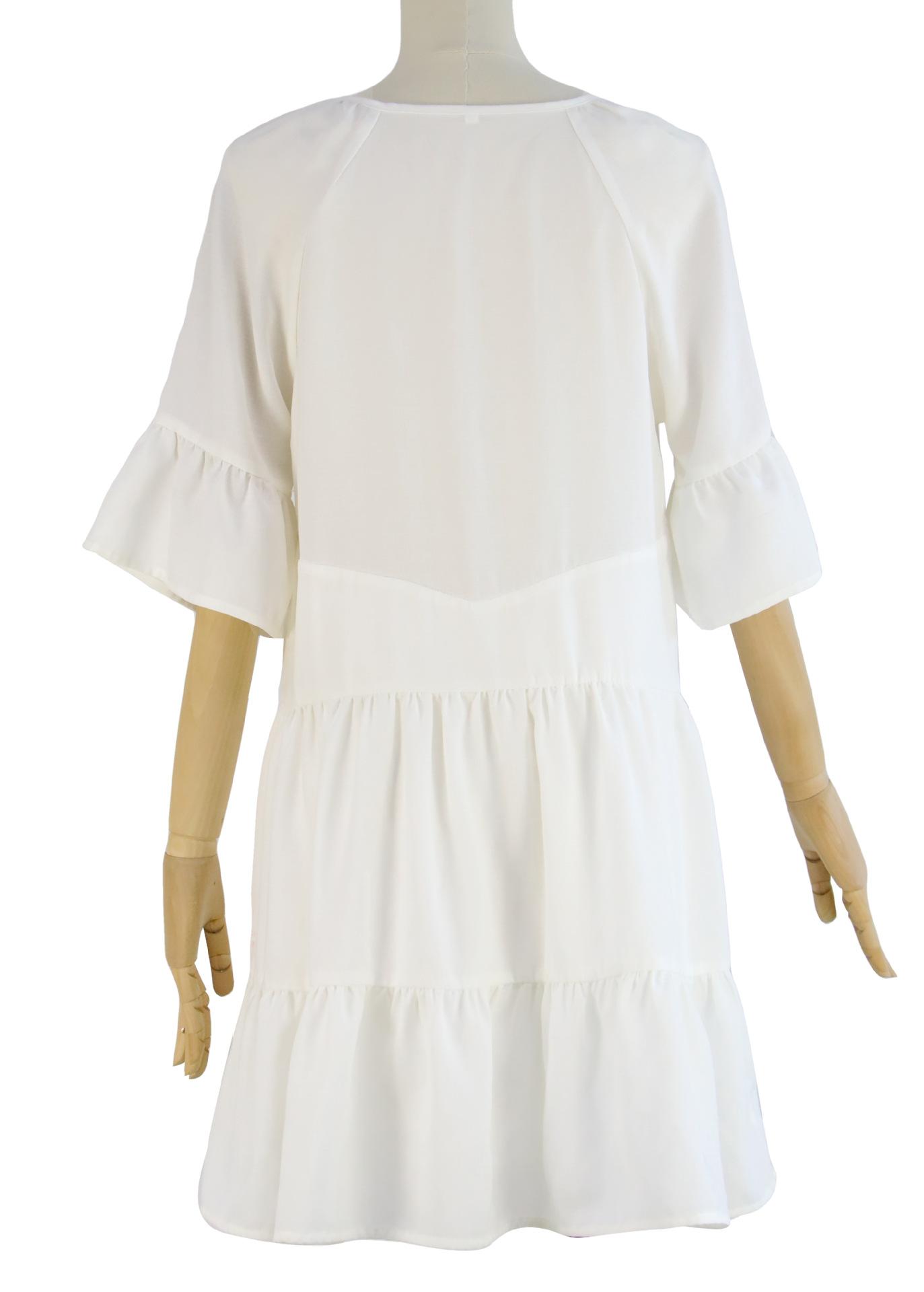 Factory Pricer Sexy Dress Paneled Ruffled White Fringe Neckline Summer Dress