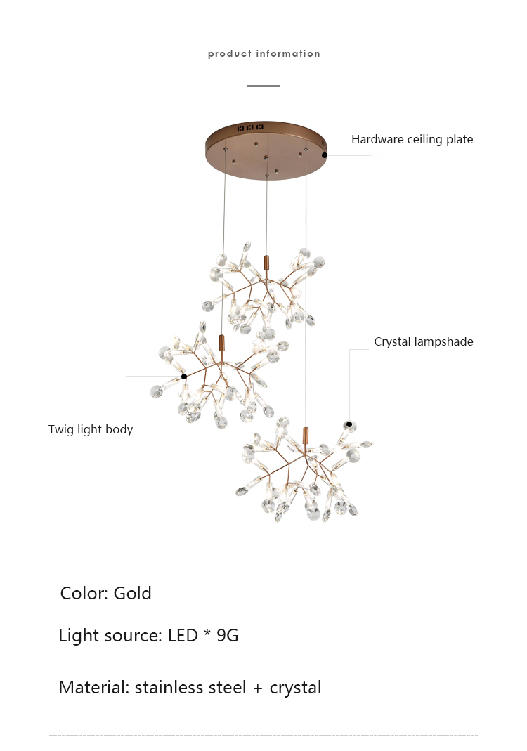 2020 New Firefly Light Luxury Crystal Nordic Restaurant Tree Chandelier