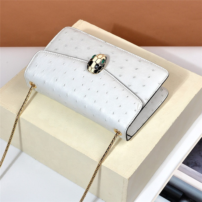 Luxury Designer Snake head Genuine Ostrich Leather Office Lady Shoulder Bags Women Fashion Handbag