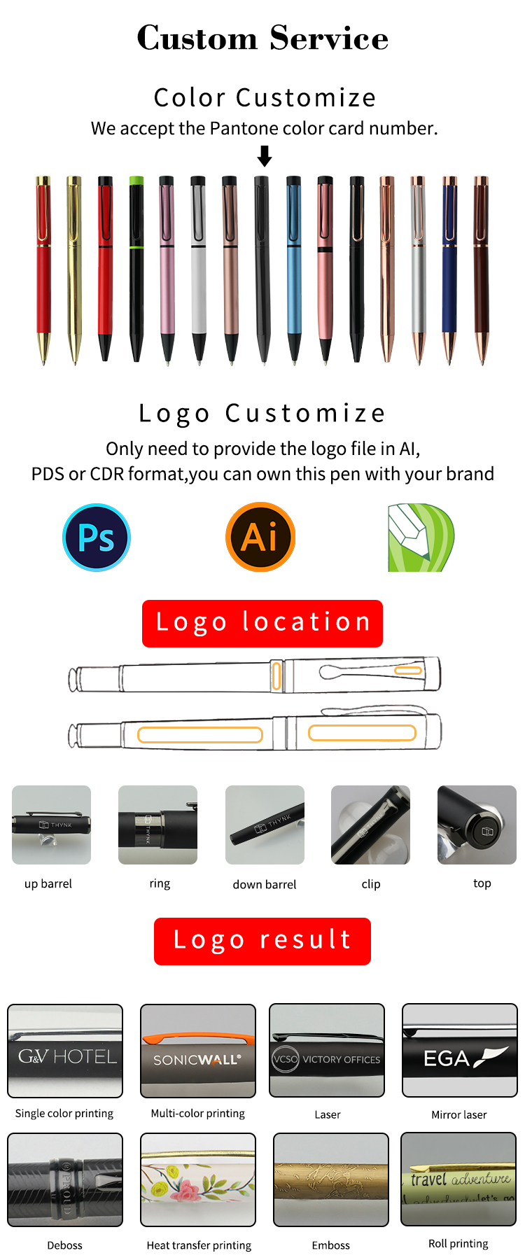 Cheap factory price custom barrel color logo slim metal pens with stylus