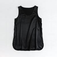 2020 New arrivals silk women's tank tops black crew neck silk camisole