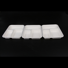 2019 Eco disposable food packaging 8 inch takeaway sugarcane biodegradable 3 compartment <strong>paper</strong> lunch box for restaurant