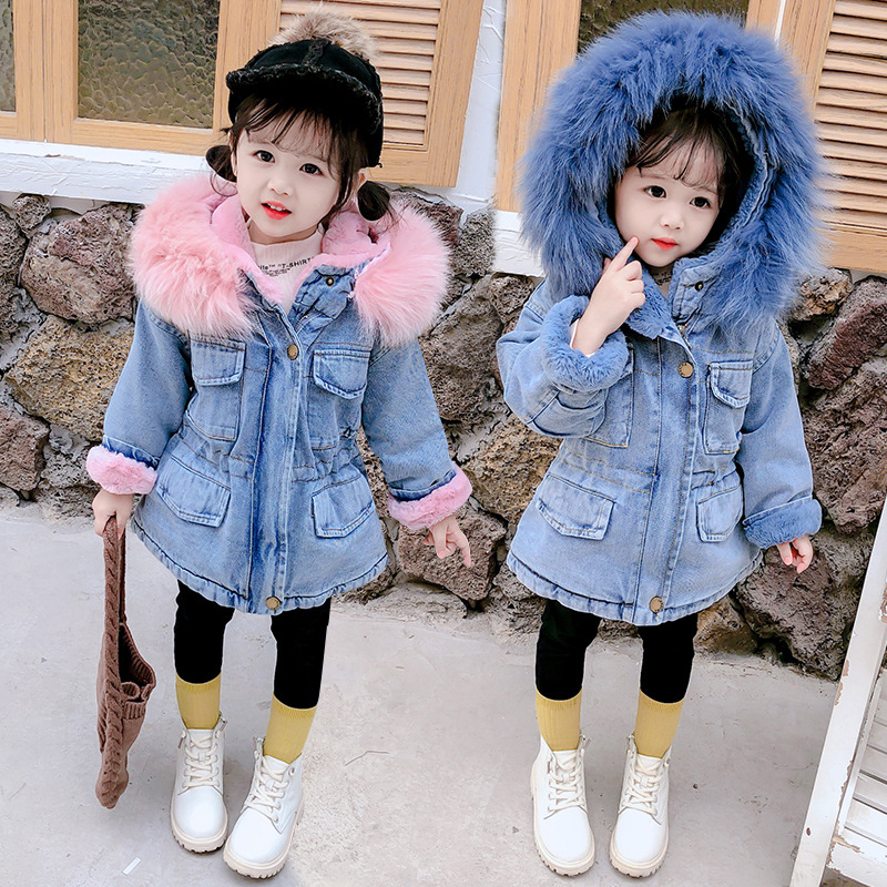 Baby Girls Winter Jackets Plus Velvet Thicken Warm Toddler Cowboy Outerwear For Infant Girl 2-6 <strong>Y</strong> Denim <strong>Coat</strong>