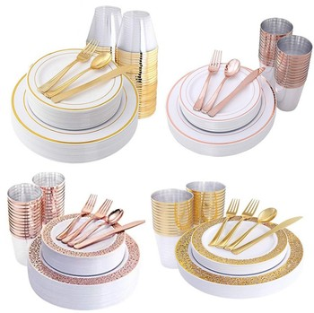 Wholesale Wedding Dinner Gold Disposable Plastic Dish Plates Sets Dinnerware