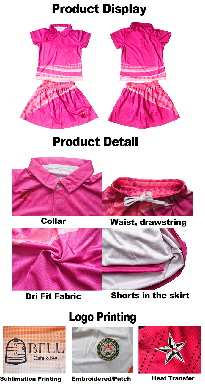 Latest design breathable printed wholesale dye sublimation tennis skirt custom