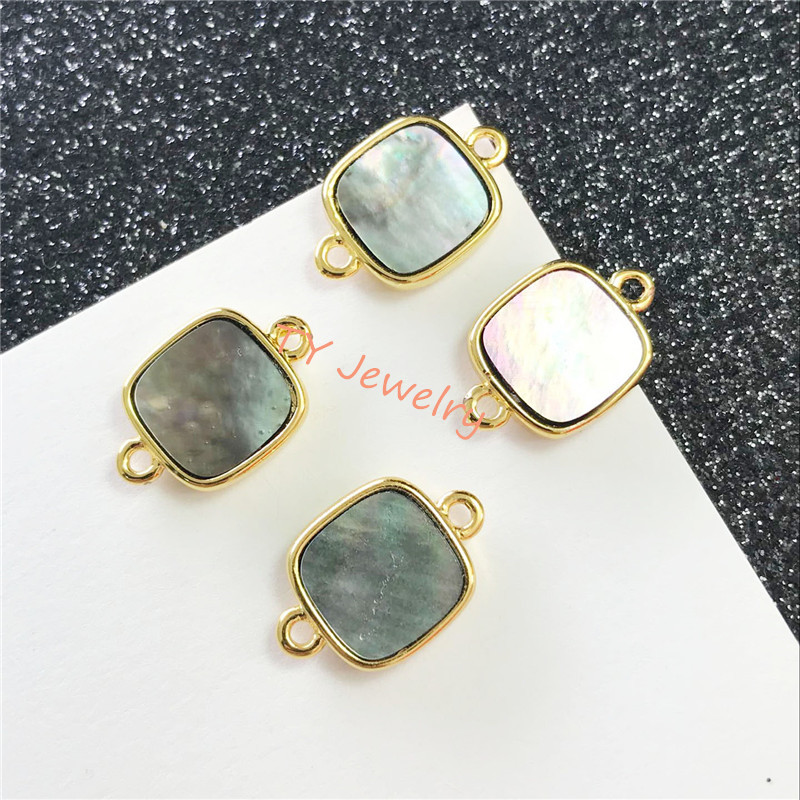 12mm square polished charm natural pure abalone shell beads connector for choker necklace for earring for bracelet