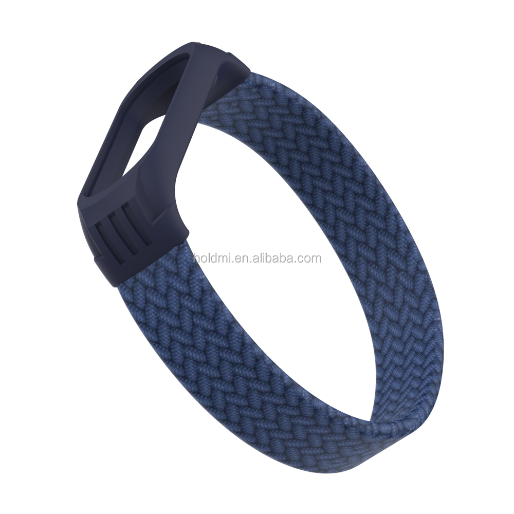 ODM holdmi new 5312 series blue color braided fabric watch strap miband 5 strap for mi band 3 4 5