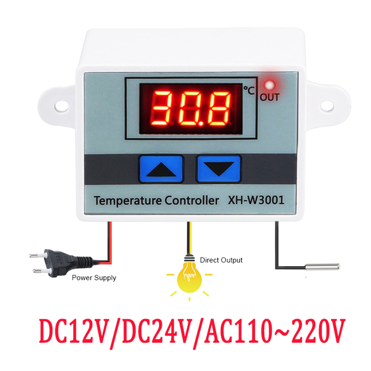 10A 12V 24V 110V~220V Digital LED Temperature Controller   Thermostat XH-W3001 For Incubator Cooling Heating Switch Thermostat