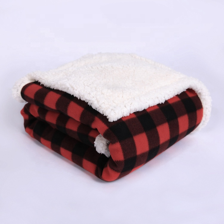 Ready goods printed soft buffalo warm <strong>plaid</strong> sherpa throw fleece blanket in vogue
