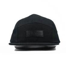 Custom Plain <strong>Flat</strong> Brim 5 Panel Cap Hat With Woven Label