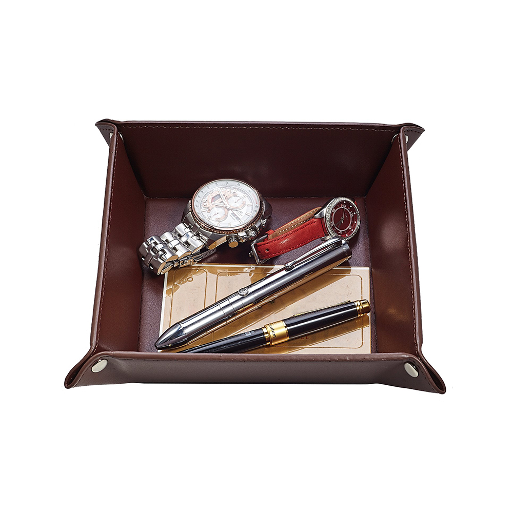 Custom multifunctional office desktop organizer small leather coin tray