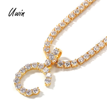 5mm CZ Initial Letters Necklaces Pendant For Men Women Gold Silver Color Fashion Hip Hop Jewelry with 4mm Tennis <strong>Chain</strong>