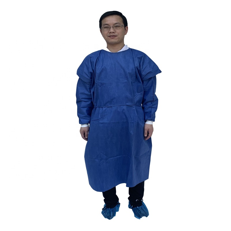 Hot Selling Cheap Visitor's Gown SMS/<strong>PP</strong>/PE Gow with Tie-Back
