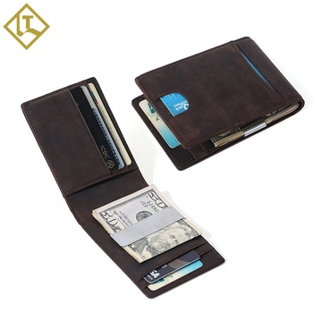 New design rfid blocking protection bifold thin mens custom leather card holder wholesale slim wallet money clip