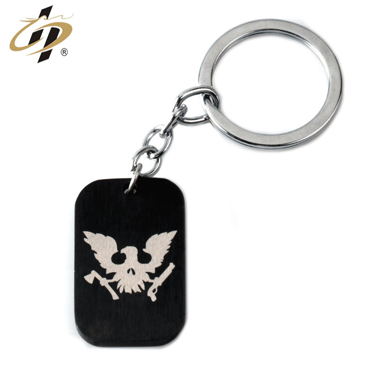 Shuanghua factory cheap metal black finish laser print own logo keychain