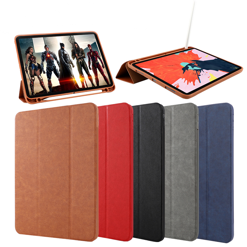 Shockproof pu leather flip cover cases for <strong>ipad</strong> pro 11 inch with pencil holder