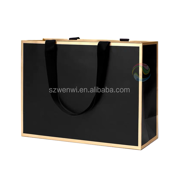 Shenzhen  Custom Print Matt Black Color Paper Shopping Gift Bag with Rope Handle