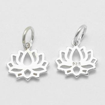 PandaHall Lotus with Carved 925 Sterling Silver Pendants for Jewelry Making