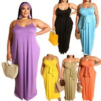 sexy deep-V bodycon plus size big size women party slip casual dress with belted