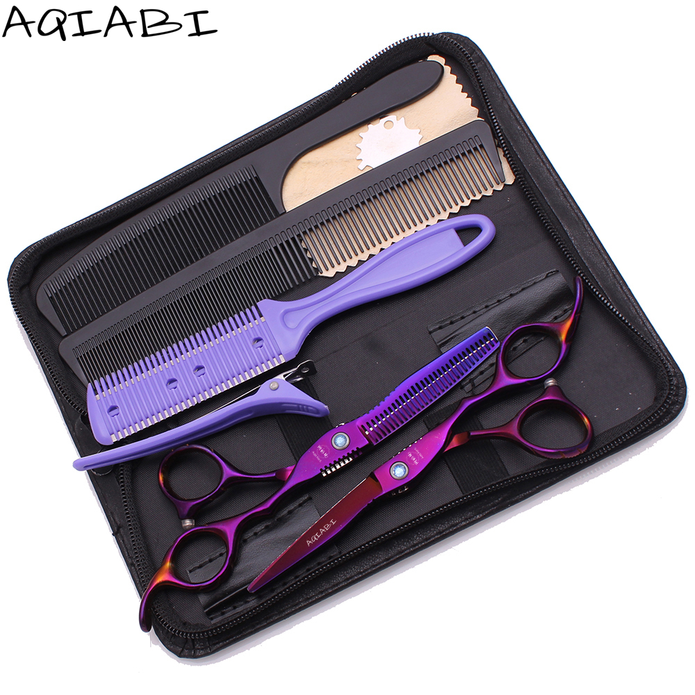 Scissors Barber 5.5&quot; 6'' AQIABI 440C Purple Hair Cutting Scissors Thinning Shears Professional Scissors <strong>A1011</strong>