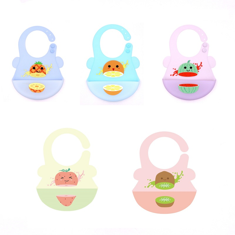 New Design Baby Bibs with Fruit Colorful Pattern Food Grade Silicone for Baby