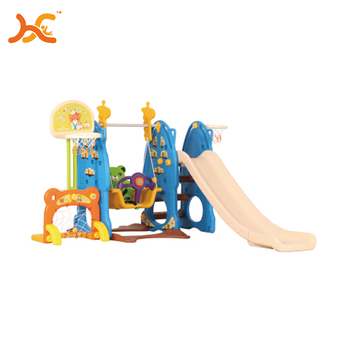 Baby indoor playground basketball stands and swing chair plastic slide for baby HFB-ML-1912906