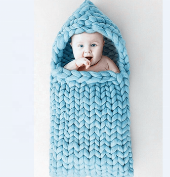 i@home Photography props handmade crochet chunky knit merino wool baby blanket sleep bag