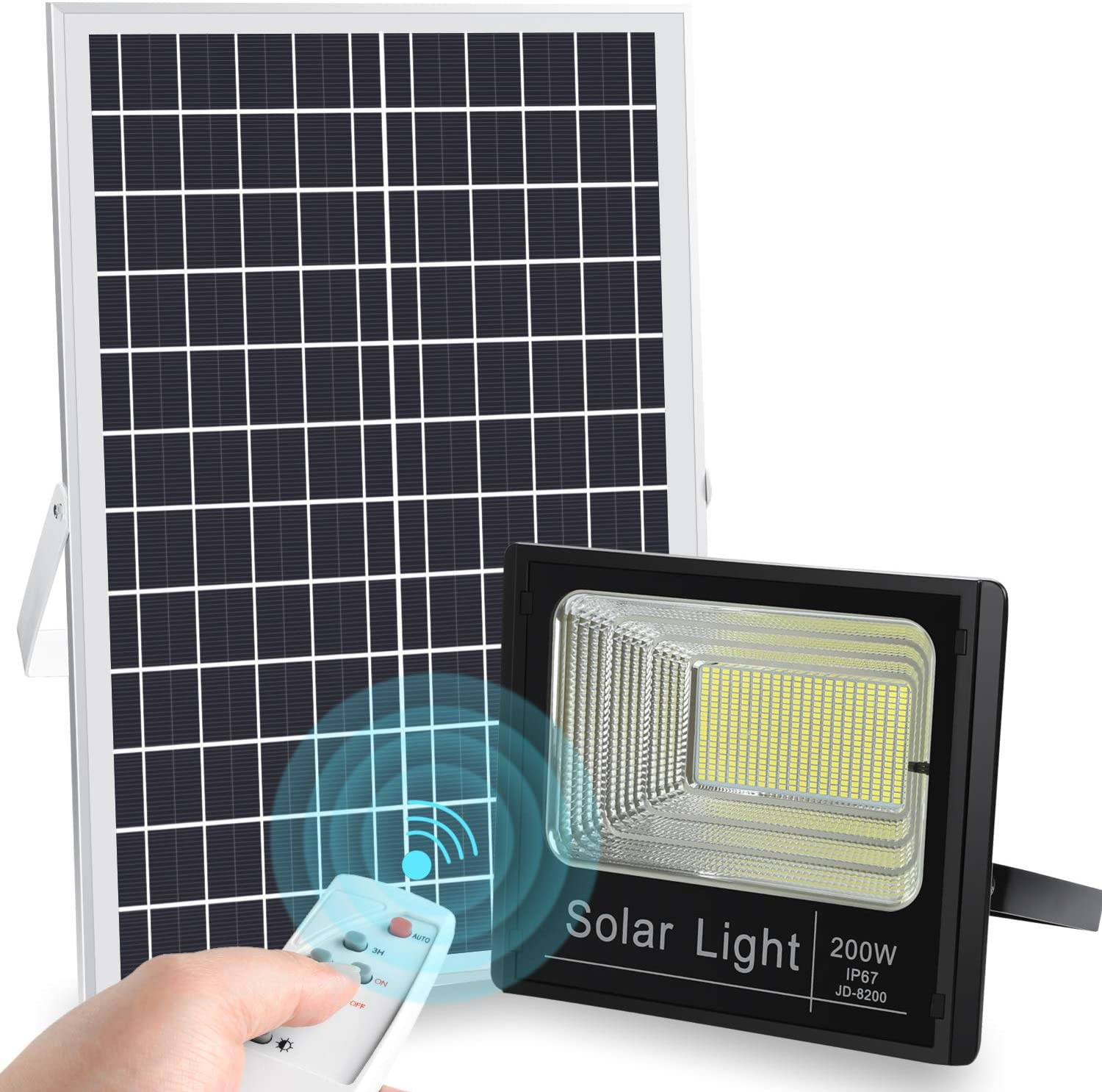 200W Led Housing Manufacturer Powered Die Casting Waterproof Black <strong>Lighting</strong> Wall Mounted Optical Solar Flood Light