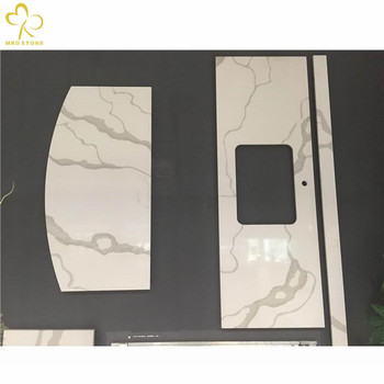 Chinese Custom Cut Table Top Calacatta White Quartz Countertop