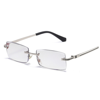 High quality Rimless diamond cutting reading glasses anti blue light reading glasses