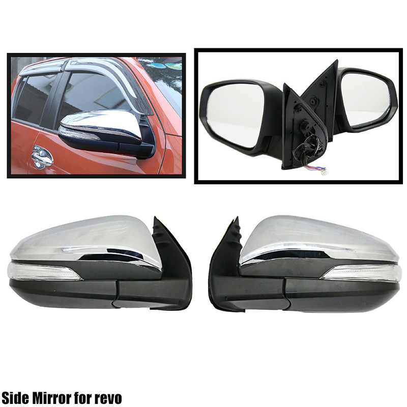 Silver Car Door Side Mirror <strong>W</strong> LED Indicator For Revo Pickup 15-18