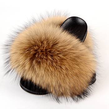 2020 New design fashionable soft comfy fluffy women ladies fox slides real fur slippers