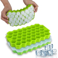 Demale 37 Cavities BPA Free Stackable Durable Easy-Release Flexible Dishwasher Safe Silicone Ice Cube Tray Mold With Lid