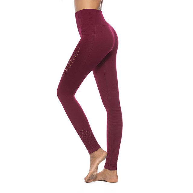 Women's High Waist Hollow Mesh Stretch Trousers Stitching Hip Push Up Elastic Seamless Yoga Leggings