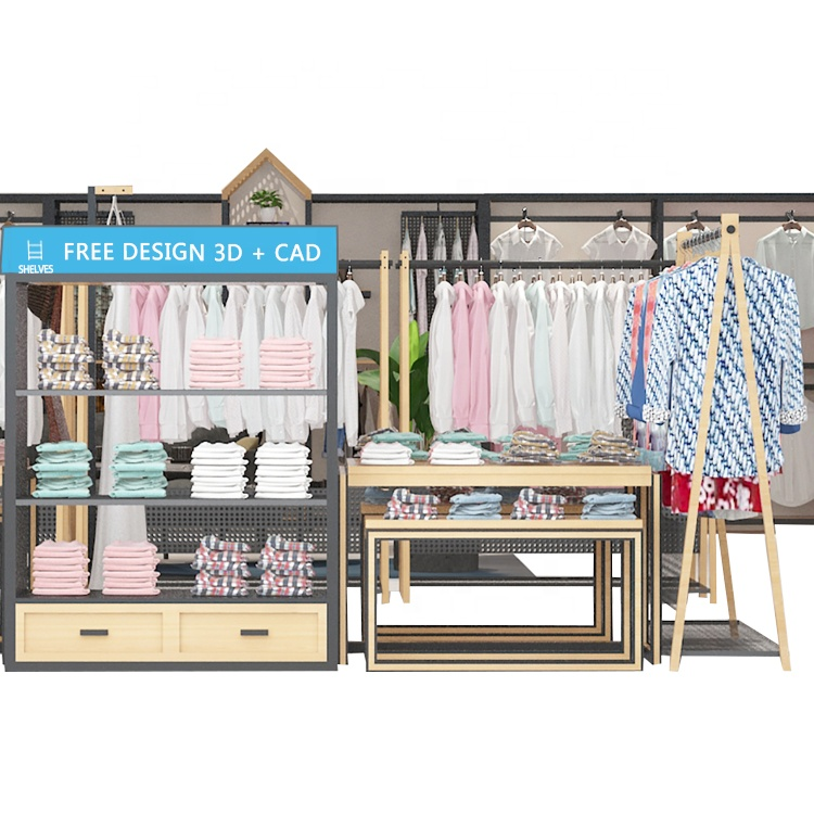 Luxury Gold Double Store <strong>Retail</strong> For Shop Acrylic Wood With Shelf Garment Rack Clothing Clothes Display Rack