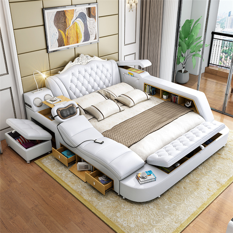 Luxury Modern design bedroom furniture smart <strong>bed</strong> bluetooth speaker and massage Multi-functional Upholstery Soft leather <strong>bed</strong>