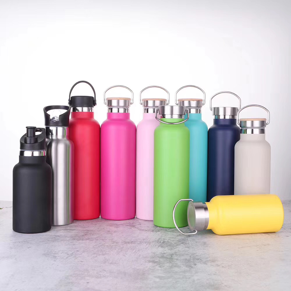 2020 outdoor 350ml/500ml/600ml/750ml double wall stainless steel vacuum insulated sport water <strong>bottle</strong> with bamboo lid