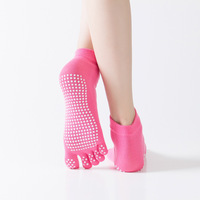 Wholesale custom logo cotton five toe anti slip Women Non Slip Ballet Pilates Grip Socks Anti Slip Non Skid socks yoga