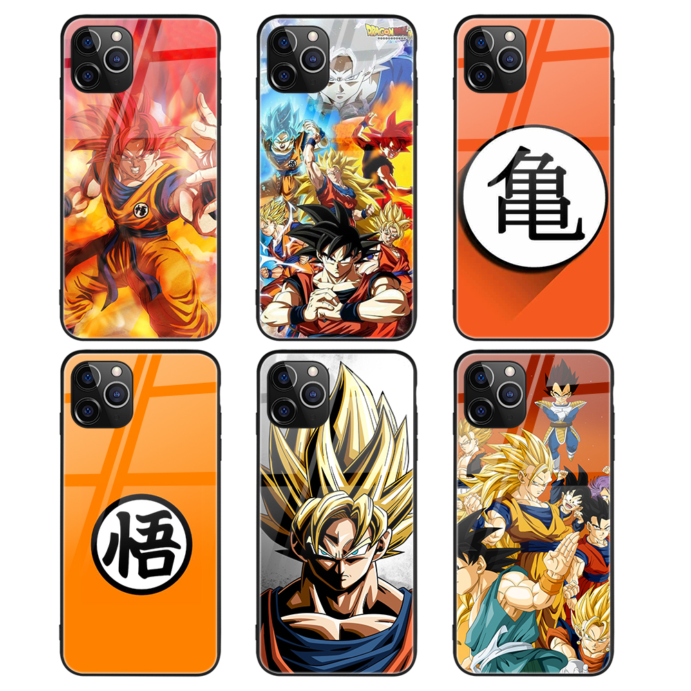 Custom Print Anime Dragon Ball <strong>Z</strong> Designer Tempered Glass Phone Case for iPhone 7 12 11Pro XR XS SE 2020 Case S10 S20 Coque