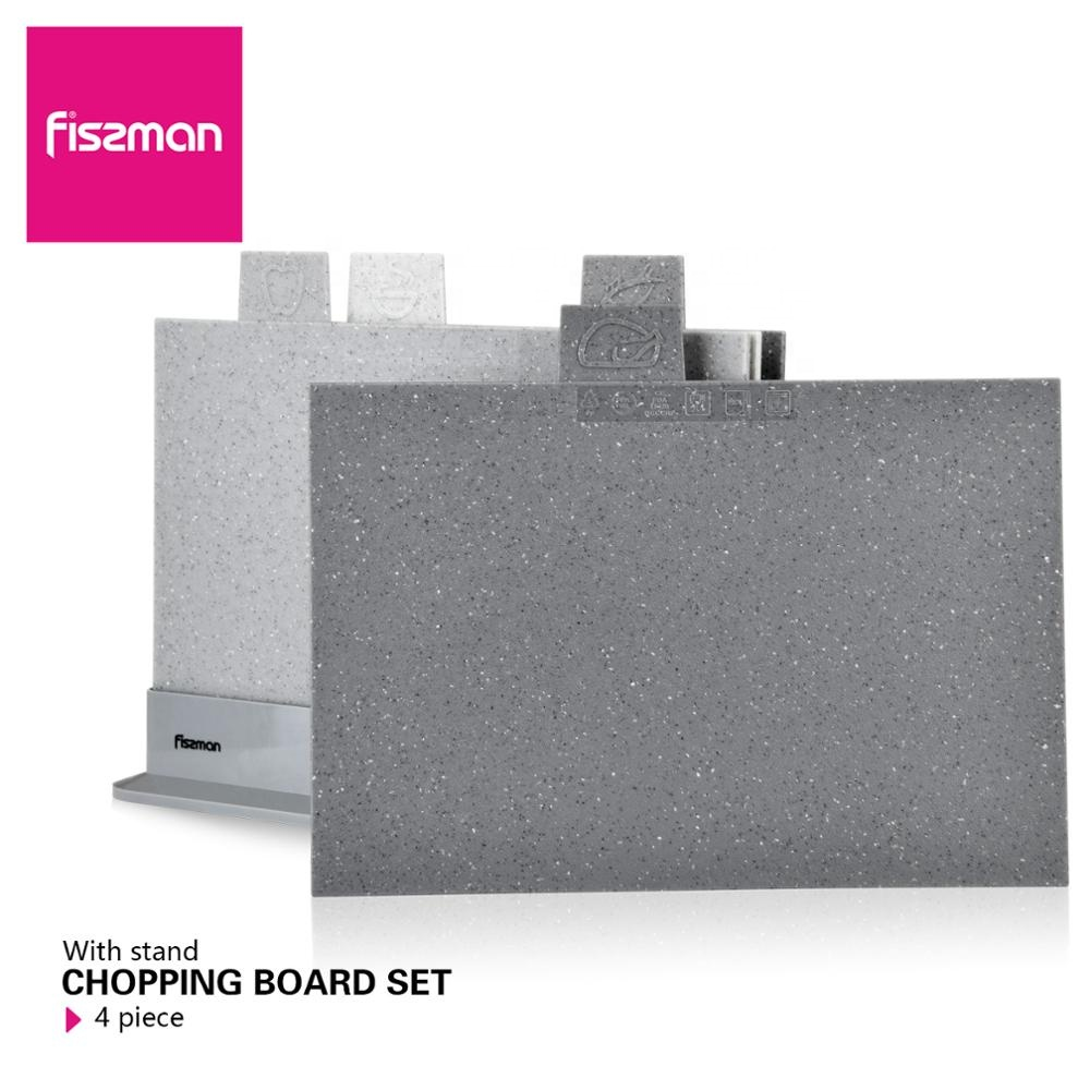 Fissman index Plastic Chopping Block Non-slip Marble Coating Plastic Mats Cutting Board with Stand-4pcs Sets