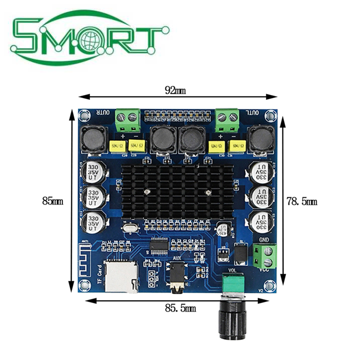 Smart Electronics~TDA7498 Bluetooth 5.0 Digital Power Amplifiers Board HD Experience Support TF Card AUX Dual Channel 50W*2