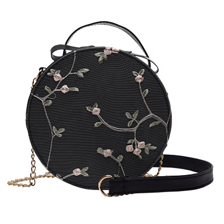 Sweet Lace Round Handbags Lady Tote Pu Leather Women Crossbody Bags Female Small Fresh Flower Chain Shoulder